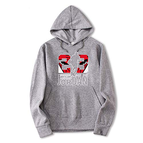 23# Jordan Hip-Hop Basketbal shirt, Heren Trui, Fashion Gedrukt Alphabet Casual trui met lange mouwen Youth Populaire Loose Top,Gray,M