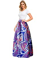 Afibi Women African Printed Casual Maxi Skirt Flared Skirt A Line Long Skirts with Pockets (Small, Pattern 5)