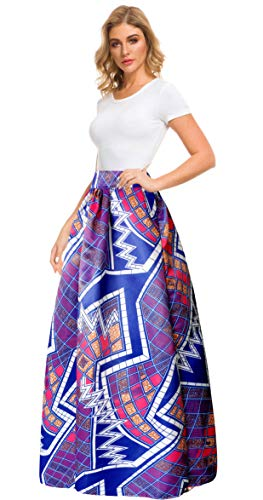 Afibi Women African Printed Casual Maxi Skirt Flared Skirt A Line Long Skirts with Pockets (X-Large, Pattern 5)