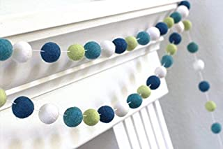 "Blue, Green, White Felt Ball Pom Pom Garland- 1"" (2.5 cm) Wool Felt Balls"