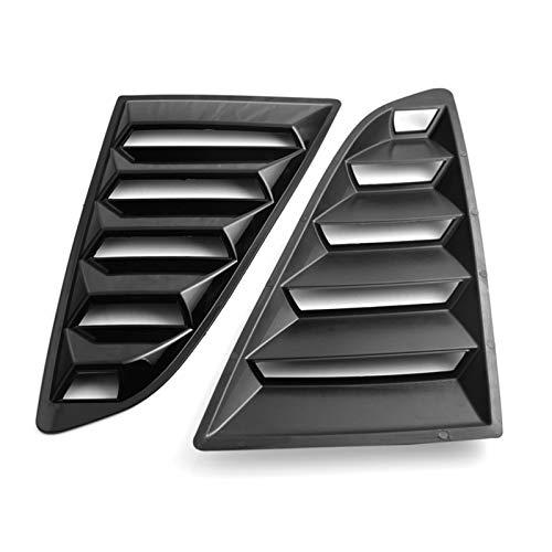 1 par de rejillas de ventilación laterales para ventanilla de coche, estilo trasero, alerón, panel lateral de ventilación para Ford Mustang 2015-2020 (color negro brillante).