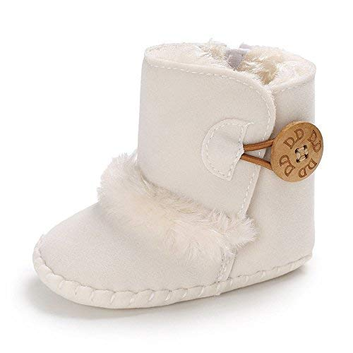 Isbasic Infant Baby Buttons Snow Boots Anti-Skid Rubber Sole for Toddler Boys Girls Winter Warm Crib Shoes (0-6 Months, A/White)