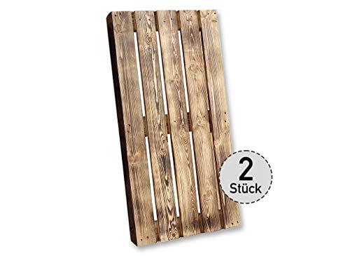 Holzpaletten/Palette Shabby Chic aus Holz - Einwegpalette Tauschpalette Upcycling Palettentisch (2 Stück_Geflammt)