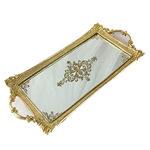 XMSIA Decorative Tray Perfume Tray Gold Mirrored Tray Dressing Table Tray Decorative Storage Mirror Jewellery & Makeup Organiser , Vanity Tray ,Drinks Tray Mirror Tray for Dresser Bathroom