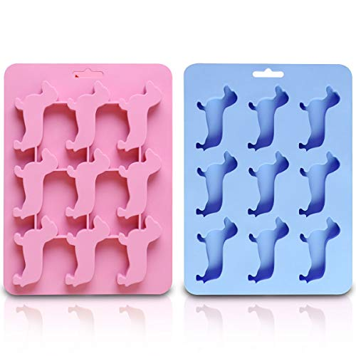 Ice Cube Tray Set, ZITTEE Dachshund Dog Shaped Silicone Ice Maker Mold, Reusable and BPA Free