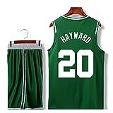 Boston Celtics Gordon Hayward # 20 Shorts Jersey - Conjunto clásico Sin Mangas, Jersey de Hombre, Uniforme de baloncesto Para niños Camiseta de Traje de Canasta Unisex Letras cosidas (A,3XL)