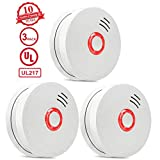 Smoke Detector,3 Packs Photoelectric Smoke Alarm Fire Alarm with Light Sound Warning 9V Battery (Included) Powered Fire Safety for Home Hotel School etc Passed UL Certification