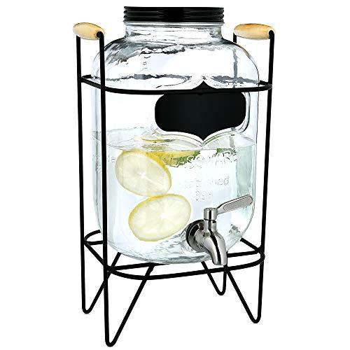 Navaris Dispensador de Bebidas con Grifo - Recipiente de Vidrio de 5 L - Botella de Cristal con Base y Cierre Giratorio - Garrafa con dosificador