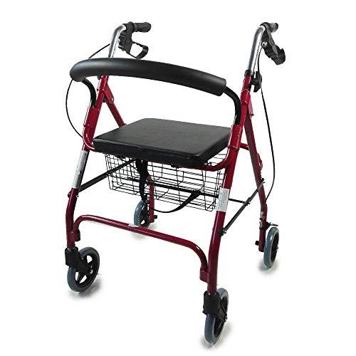 Andador para ancianos, Aluminio, Plegable, Freno en manetas, Asiento y respaldo, Cesta, Granate, Alhambra, Mobiclinic