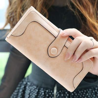 long wallet ladies matte leather ladies wallet female wallet card holder clutch-Pink