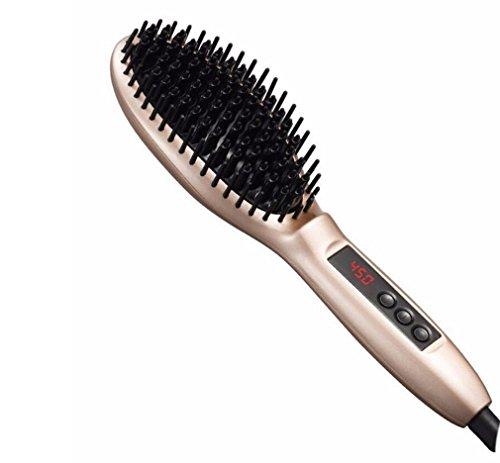 KDLD Fers à lisser ®Straightening Brush Hair Straighteners Digital LCD Anti Frizz Hair Styler Instant Heat Up Contrôle de la température variable Straight Straight Hair Peit Straight Roll Dual Perm