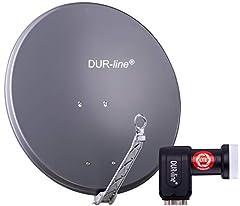 DUR-line 4 Participant Set - Quality Alu Satellite Complete System - Selecteer 75cm/80cm Mirror/Bowl Anthracite + Quad LNB - voor 4 receivers/TV [Nieuwste technologie, DVB-S2, 4K, 3D]*