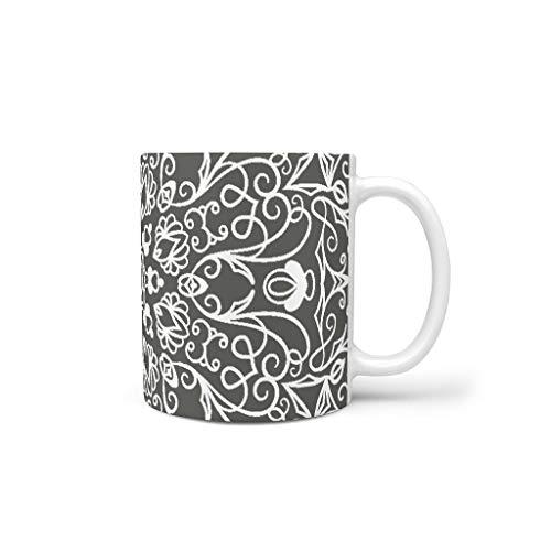 O2ECH-8 11 oz wit grijs mandala water cappuccino beker met handvat glad keramiek retro beker - bloem meisjes, thuis gebruiken