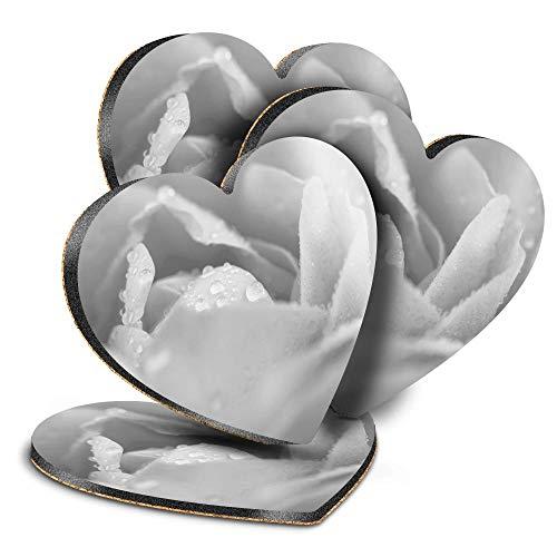 Destination Vinyl ltd Great Posavasos (juego de 4) Corazón – BW – Flor de rosa macro jardín bebida brillante posavasos / protección de mesa para cualquier tipo de mesa #43359