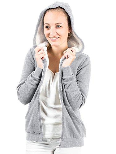 Casual Standard Damen Sweatjacke mit Kapuze hochwertig verarbeitet - kuschelig & Warmer Pullover S