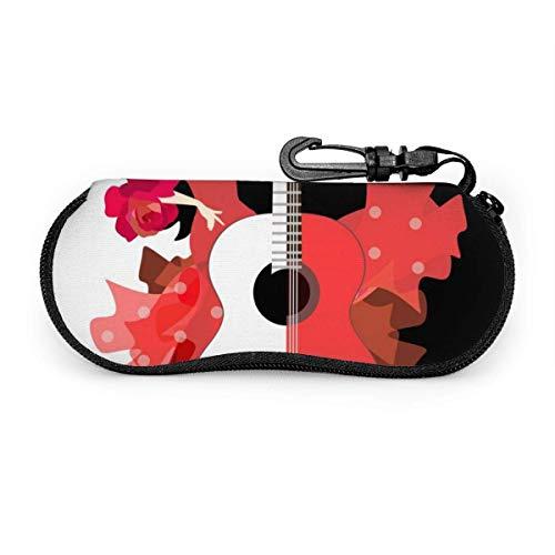 Ruan-Shop Hermosa chica española guitarra shell grandes gafas de sol estuche para hombres mujeres niño niña