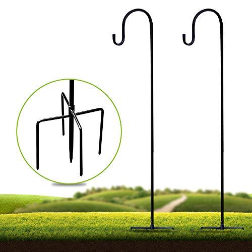 Shepherd-Hooks Adjustable for Bird-Feeder Lantern Plant-Hook Garden-Stake - 36 Inch 21 Inch 51 Inch 2 Pack Plant Stand Hanger for Outdoor Flower Basket, Bird Feeder Hanger Weddings Decor