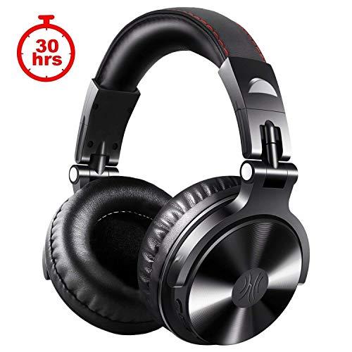 OneOdio Bluetooth Kopfhörer Over Ear, Geschlossene Studiokopfhörer mit Share Port, kabelgebundene und kabellose professionelle DJ-Kopfhörer für E-Drum Piano Gitarre AMP Recording und Monitoring (Rot)