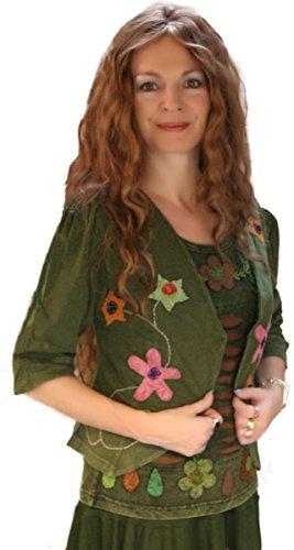 Dark Dreams Gothic Mittelalter Ethno Pagan LARP Bolero - Weste Jacke 38 40, Farbe:grün