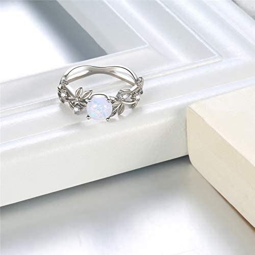moahhally Rose Gold Opal Ring with Opal Created Opal Ring Promise Rings Cubic Zirconia Ring