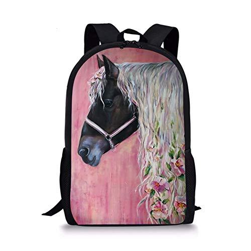 POLERO Mochila infantil con estampado de caballos, estilo vintage campus escolar, para niños y niñas