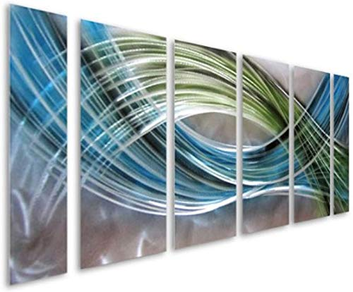 Pure Art Abstract Color Warp Metal Wall Art - Large Scale Decor Abstract Blue-Green Swirls - 3D Wall...