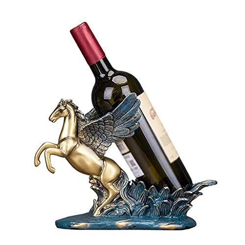 MaxDal Estante del Vino, Pegasus Escritorio Animales Sola Botella De Vino De Accesorios De Rack, Resina De Oro Creativa Sencilla Botellero Vino Escultura (Color : Gold, Size : 29×19×22cm)