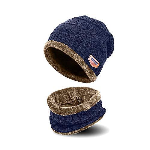 AYAMAYA Bonnet d'hiver Écharpe pour garçon Fille – (5–14 Ans) Enfants Chaud Tricot Chapeau Bonnet de Ski Thermique (2 pièces) Y Compris Cache-Cou Slouchy Tête de Mort Casquette - Bleu