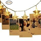 Photo Clip 20 LED Chaîne étoiles Guirlande Lumineuse Mallalah 3M décoration de Bébé Chambre Mariage Star Wall String avec Flash Couronne de Sapin Noël
