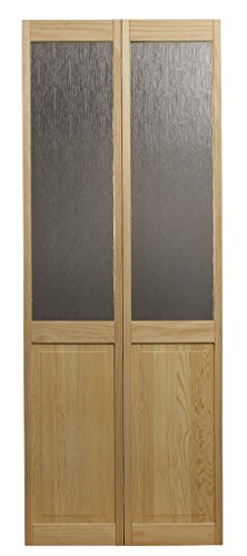LTL Home Products 854728 Aspen Half Glass Bifold Interior Solid Wood Door, 32 Inches x 80 Inches, Unfinished Pine