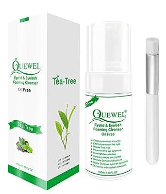 Tea Tree Lash Cleanser -Foaming 100 ml Eyelash Shampoo/Wash Eyelash Extension Safe For Daily Use Oil Free With Soft Brush,Tear Free Eyelash Shampoo for Eyelash Extensions