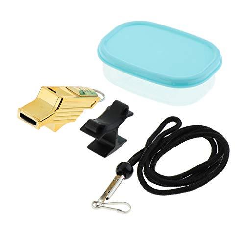 Sharplace Silbato de Supervivencia de Emergencia con Cordón/Clip de Dedo Silbato de Metal de Seguridad - Oro