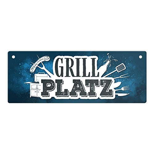 trendaffe - Grillplatz Metallschild in blau Fleisch Wurst Grillen Grill Bier Hobby Besteck