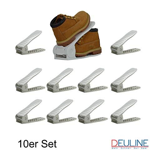 Deuline 10 x Premium Verstellbarer Schuhregal Schuhstapler Schuhaufbewahrung Schuhorganizer Schuhhalter Farbe:Grau