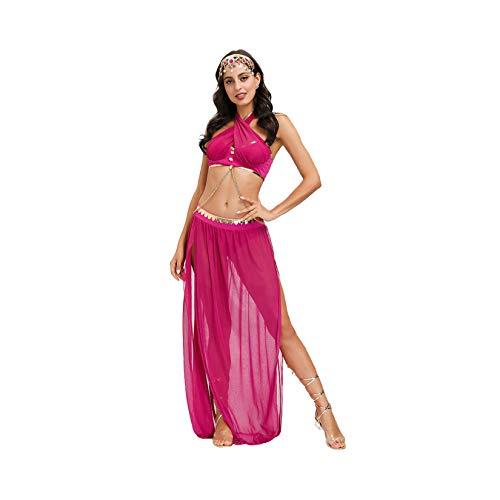 LLSL Falda de Danza del Vientre, Baile de Gasa de Las Mujeres, Sujetador y cinturn Conjunto de Disfraces, Danza del Vientre Rendimiento de la Danza del Vientre Traje de Baile Vestido,XL