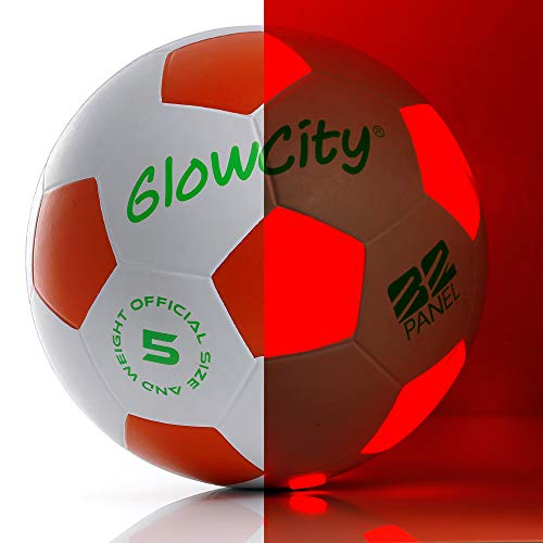 Light Up-Soccer Ball Size 5|Glow in The Dark|Official Size and Weight|Uses 2 Hi-Bright LED Lights|Perfect for A Night Match in The Dark or Kickball League-Spare Batteries Included