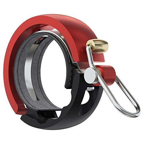 Knog Fahrradklingel Oi Luxe Large, 23,8-31,8 mm, Schwarz Rot, 1213KN