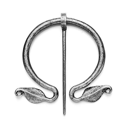 MOCAL Medieval Norse Viking Brooch Vintage Pin Women Shawl Scarf Cloak Pin Clasp Clothes Fasteners Celtic Zinc Alloy Antique Silver Viking Jewelry