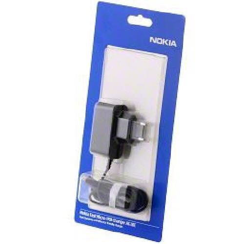 Nokia Ladegerät Micro-USB AC-10E für Nokia E52, E72, E75, N85, N86, N97, N900, X3, 3710, 6700, 7230, 7900, C5-00, Lumia 710, 800, 900, 920 1200mA