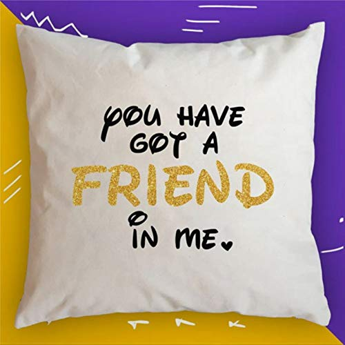 BYRON HOYLE Best Friend Cushion Cover,Throw Pillow Cover,Rustic Linen Decorative Lumbar Pillowcase for Chair Room Sofa car,Home Decor,Housewarming 1818 Inch