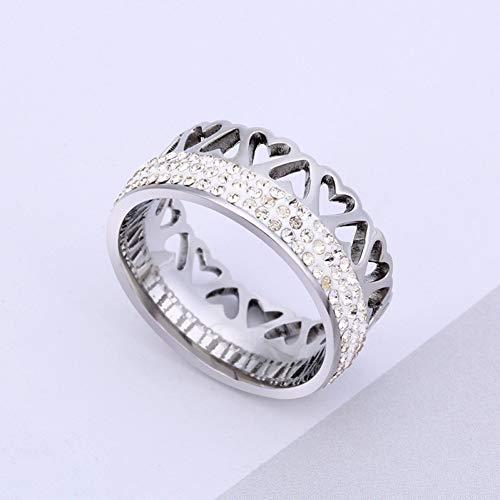 DJDLNK Hartvormige ring, roestvrij staal, voor dames, zilver, kristallen ring, mannen, bruiloftsbelofte, ringen voor paren, verlovingsring voor vrouwen