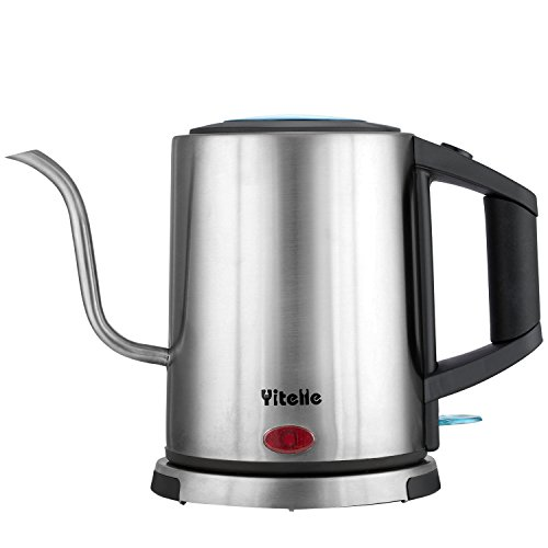Electric Gooseneck Kettle, Great for Pour Over Coffee and Tea, 1 L. High Quality STRIX Control (made in the UK), Stainless Steel Water Kettle