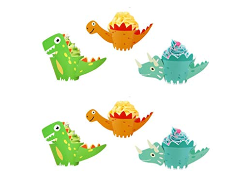 Cupcake Wrapper Dinosaurier,36er Pack Papier Dino Muffin Backen Cupcake Toppers für Kinder zum Geburtstag Jungen Dinosaurier Party Decor Favors