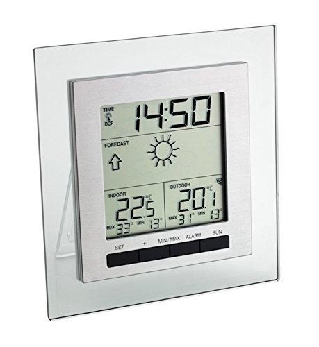 TFA Dostmann Square Funk-Wetterstation, Wettervorhersage, Lokale Außentemperatur, Raumtemperatur, Permanente Anzeige der Höchst-und Tiefstwerte, Funkuhr