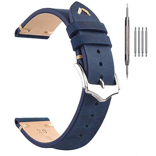 Cinturino per Uomo, Cinturino in Pelle Orologio EACHE Crazy Horse Cinturino per Orologi in Blu-20mm