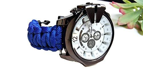 Orologio da polso blu elettrico grande uomo paracord 550 bracciale di corda nylon Regalo per lui