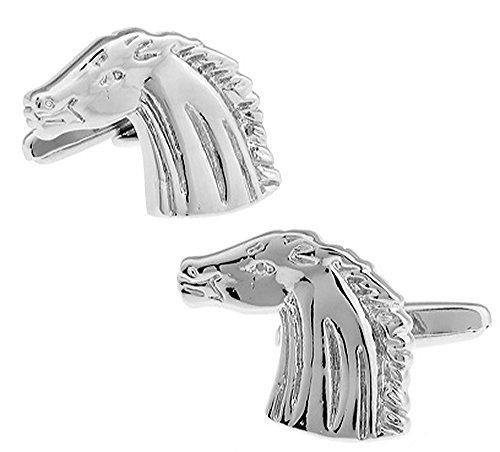 Boutons de manchette de cheval dans une boîte de présentation de luxe gratuite. Nouveauté Animaux Thème Sport Bijoux