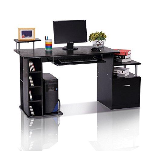 HOMCOM Computertisch Schreibtisch Bürotisch Arbeitstisch Kombitisch PC-Tisch Schwarz B152 x T60 x H88 cm