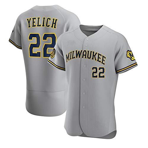 Brdwers # 22 Yelich Camiseta de béisbol para Hombre, Manga Corta, Uniforme del Equipo de Juego, botón Superior, Sudadera con Ventilador, Camiseta de béisbol Personalizada (S-XXXL)- Elite Gray-Youth