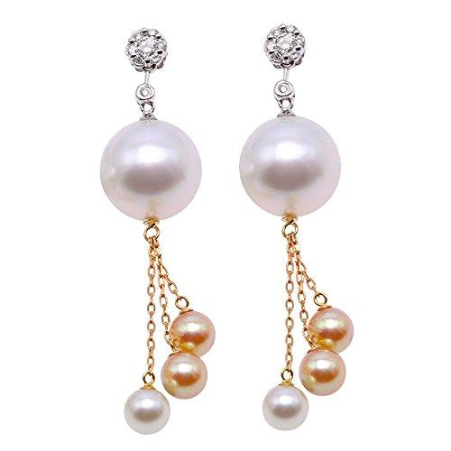 JYX - Orecchini pendenti in oro 18 carati, di qualità AAA+, 12 mm, con perle coltivate e perle Akoya, da donna
